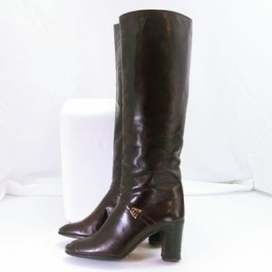 Gucci Size 8.5 Oxblood Leather Tall Heeled Boots